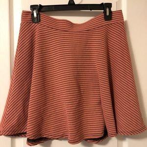 Pink and black striped skater skirt